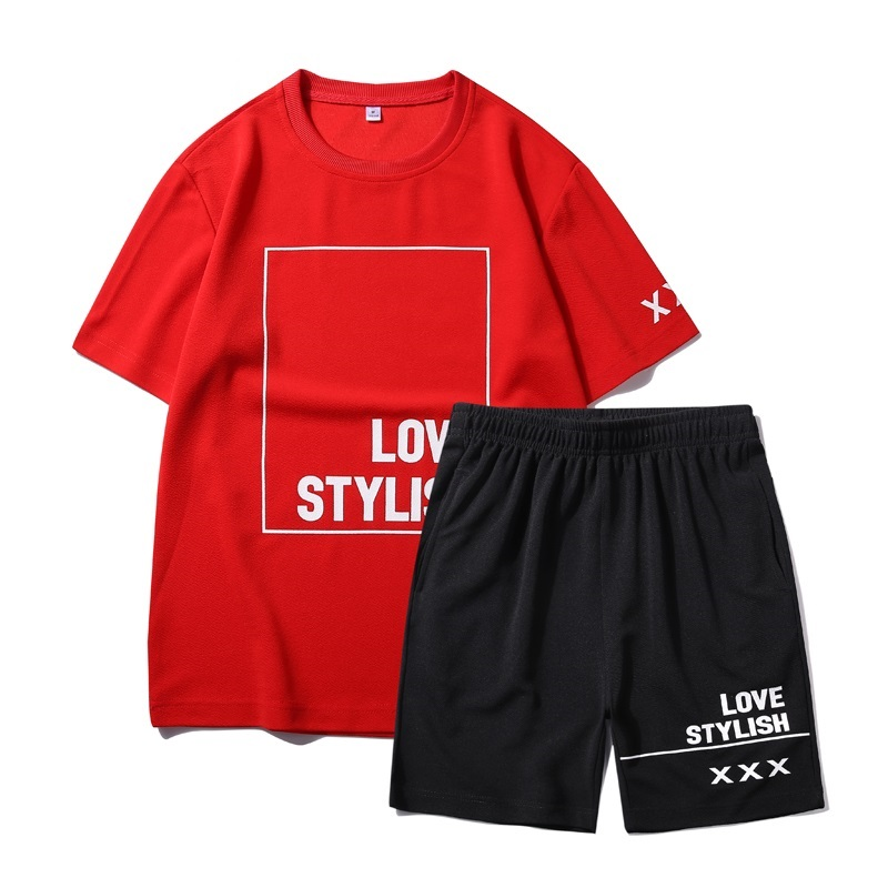 2020 New Trend Men Set Casual Tracksuit Solid Letter Printing Summer Male Loose T-shirts+Shorts Two Pieces Streetwear Sportsuit