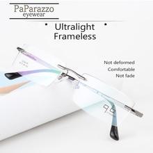 Frameless Ultralight Reading Glasses Metal Optical Frame Women Men Classic Business Design Myopia Eyeglasses