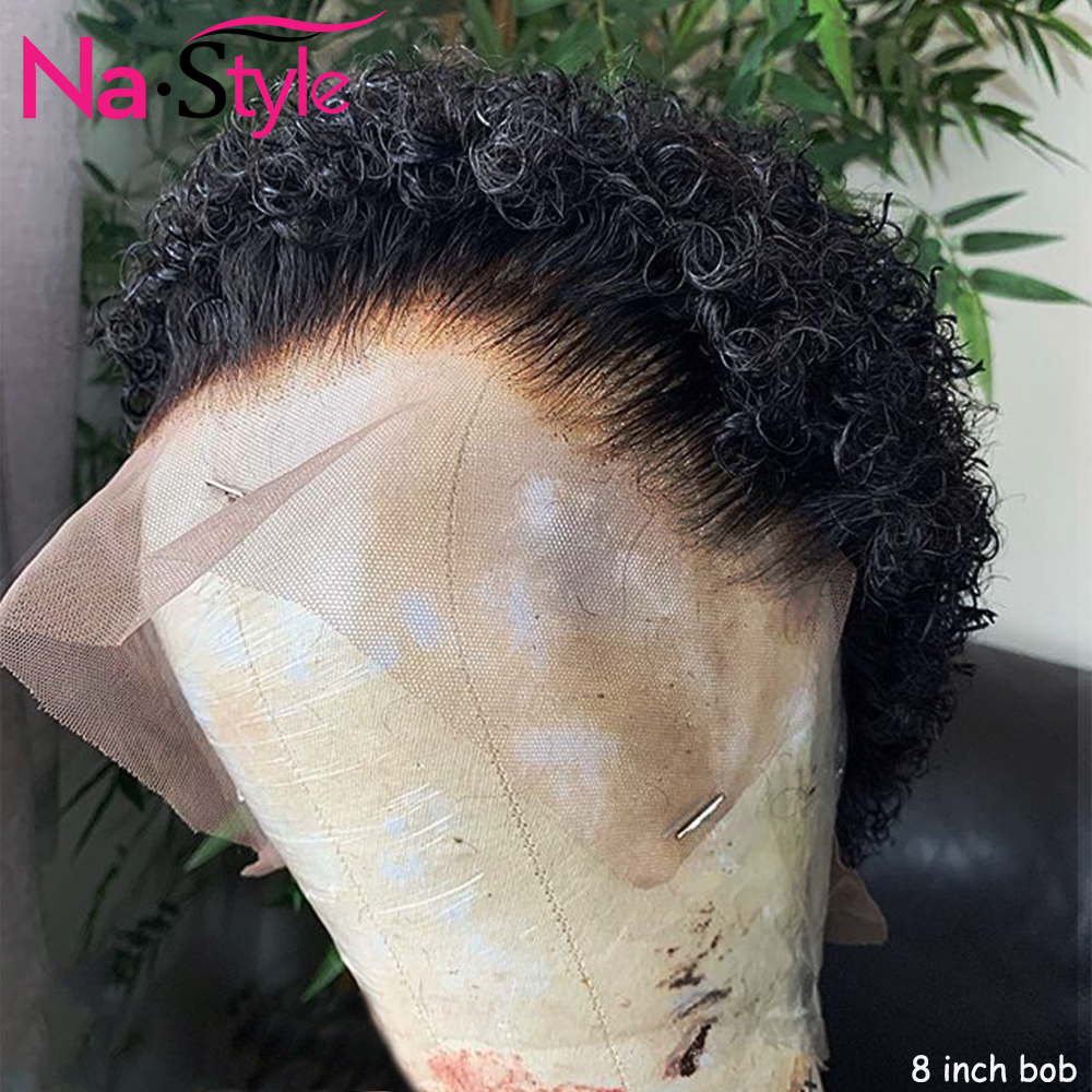 Pixie Cut Wig For Women Pixie Wig Human Hair Pre Plucked Bleached Knots Short Water Wave Bob 13x6 Lace Font Wig 130% Remy