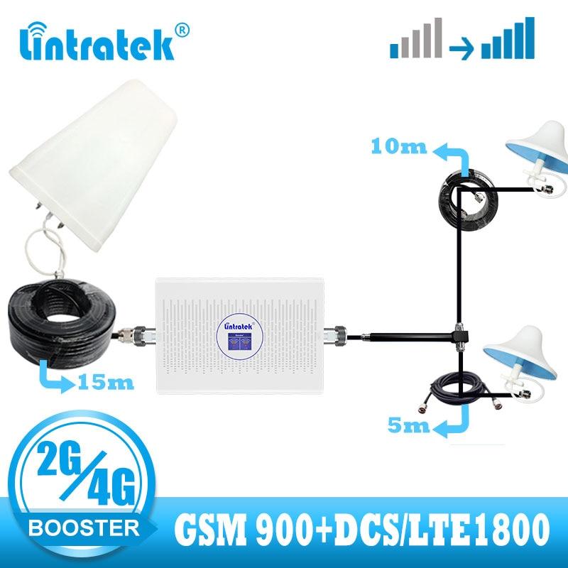 Lintratek 2g 4g Signal Booster GSM 900 LTE 1800 DCS Cellular Signal Amplifier 2g Call 4g Internet Network Mobile Phone Repeater