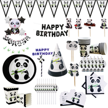 Cartoon Panda Theme Birthday Party Decorations Kids Disposable Tableware Set Plate Napkins Cup Baby Shower Supplies