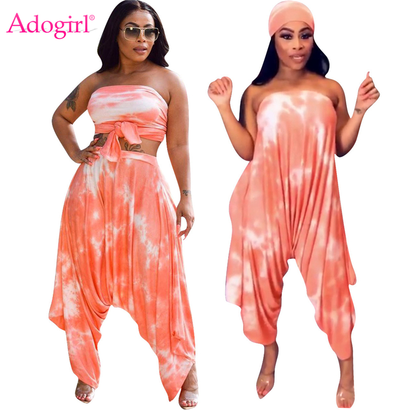 Adogirl Tie Type Print Women Casual Two Piece Set Strapless Loose Jumpsuit Headband Self Tie Crop Top Harem Pants Female Outfits