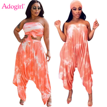 Adogirl Tie Type Print Women Casual Two Piece Set Strapless Loose Jumpsuit Headband Self Tie Crop Top Harem Pants Female Outfits two tone geo print headband