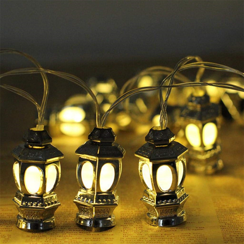 Battery Powered 10/20 Leds Muslim Ramadan String Lights Gold Iron Castle Moon Lanterns Decorative Lamp Christmas Festival Light