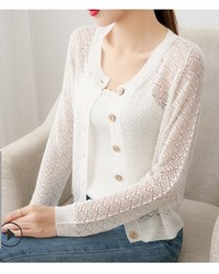 Spring and autumn new mesh hollow silk cardigan coat women's single breasted loose commuter coat Cape top