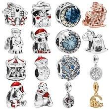 Подходит для браслетов и ожерелий Pandora, для женщин, сделай сам, для влюбленных, ювелирное изделие, серебро, 925, Рождественская звезда, Микки, ангел, лошадь, подвески, бусины, подвеска