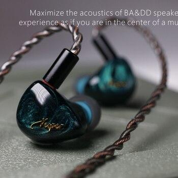2020 QOA Vesper 1DD + 1 Knowles BA hybride pilote unité écouteur DJ musique moniteur HIFI écouteurs 2Pin détacher casque rose dame/Mojito