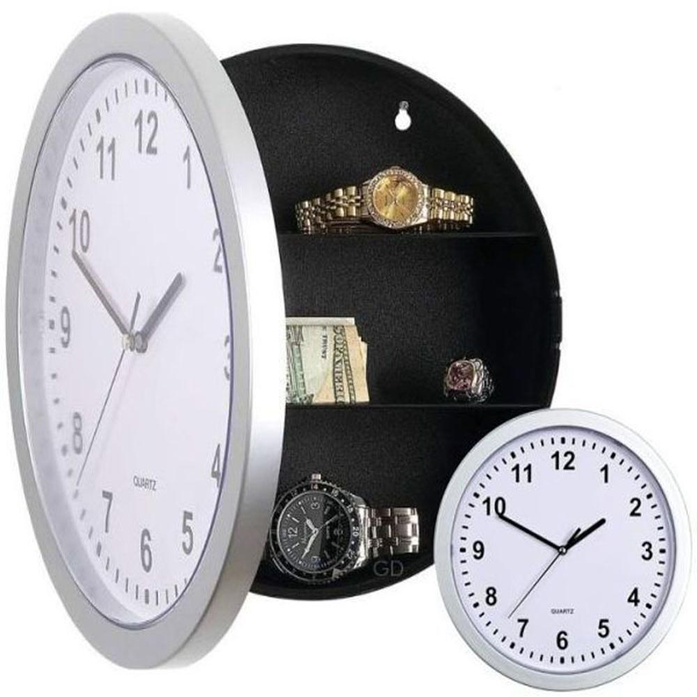 1 Pc/Pack Wall-Mounted Electric Clock-Shaped Hidden Safe For Storing Small Objects