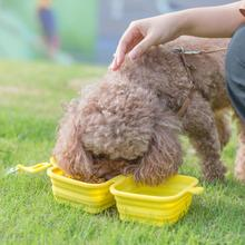 Pet Silicone Folding Rice Bowl Cat And Dog 2 In 1 Double Easy To Carry Out Accessories Can Be Non-slip Hung