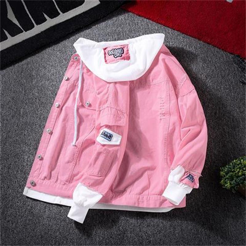 H5022ee027263410099d43b7943d4b87bk Spring Autumn Hooded Denim Jacket Women's Ripped Hole Jeans Coat Retro Jean Jacket Street Casual Bomber Jacket Outerwear Hoodies