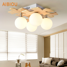 AIBIOU Wooden LED Ceiling Lights Modern Square Lamp For Living Room Glass Ball Bedroom Lighting Fixtures