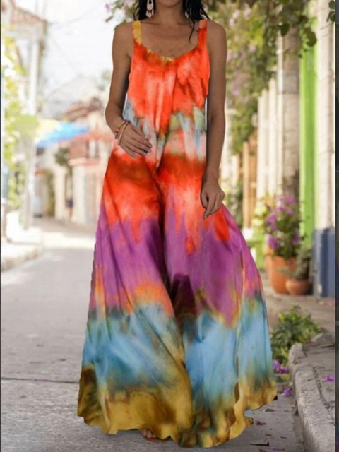2021 Summer Women Long Maxi Dress Bohemian Suspender Strapless Mop Robe Tie Dye 3D Printed Sleeveless Vestido New Design Female 6