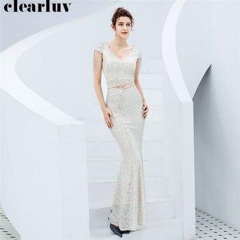 V-neck Evening Dresses Sequined Short Sleeve Women Party Dress DX236-5 2019 Plus Size Robe De Soiree Elegant Mermaid Prom Dress