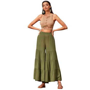 CAWA Summer Vintage Women Fashion Wide Leg Trousers Solid Color Pants Casual Elastic Waist Slim Loose Cotton Pants striped elastic waist cotton loose women wide leg pants summer new casual brand pants high quality plus size girl harem trousers
