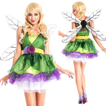 Forest Green Elf Halloween Flower Fairy Princess Dressed Queen Dress Up Party