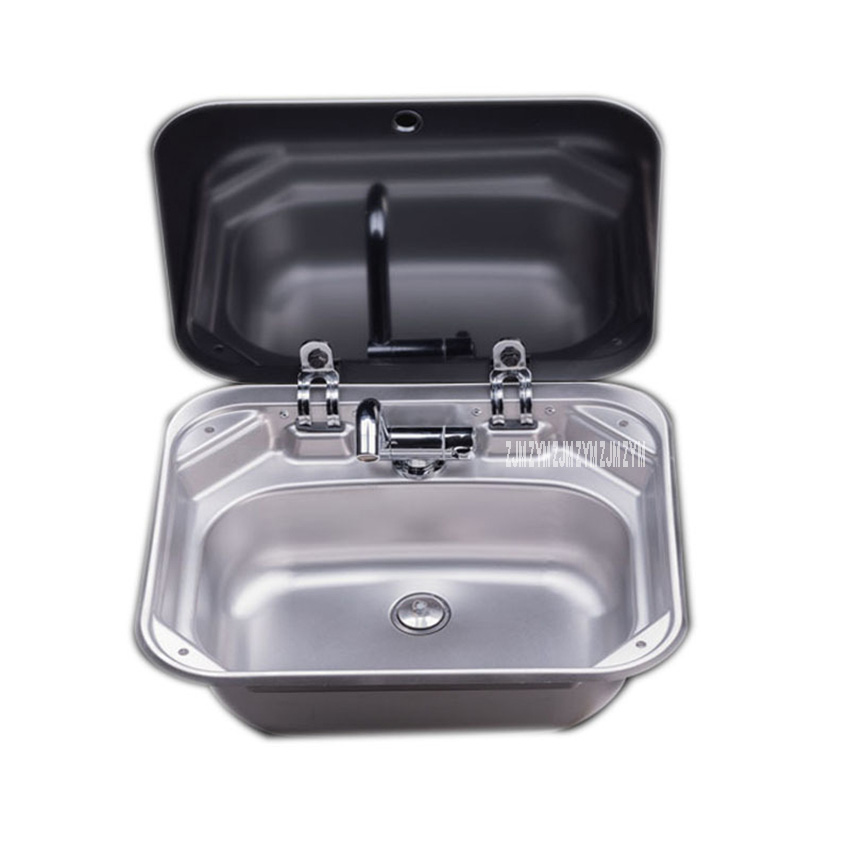 PS-698 Quality 304 Stainless Steel Single Slot Caravan Sink RV Camper Sink With A Right Angle Drainer Folding Faucet Glass Cover