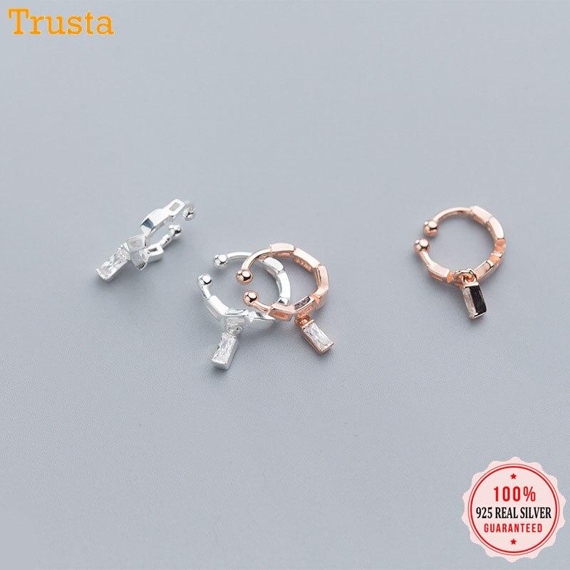 Trusta Genuine 925 Sterling Silver Dazzling CZ Stick Ear Cuff Clip On Earrings For Women Without Piercing Earings Jewelry DA569