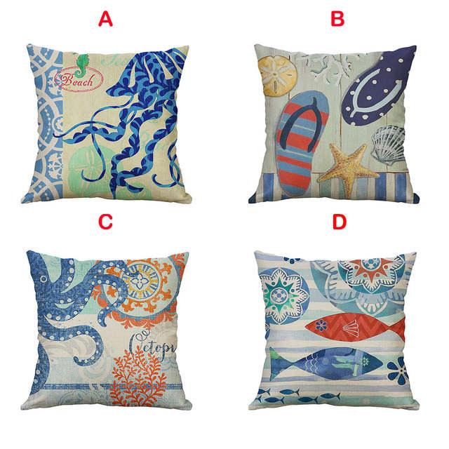 Federe Cuscini Divano.Marine Life 45x45cm Linen Pillow Pillowcase Home Decorative