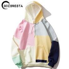 Goesresta hip hop hoodies homem de grandes dimensões streetwear multi-color costura casual moletom pullover outono moletom com capuz
