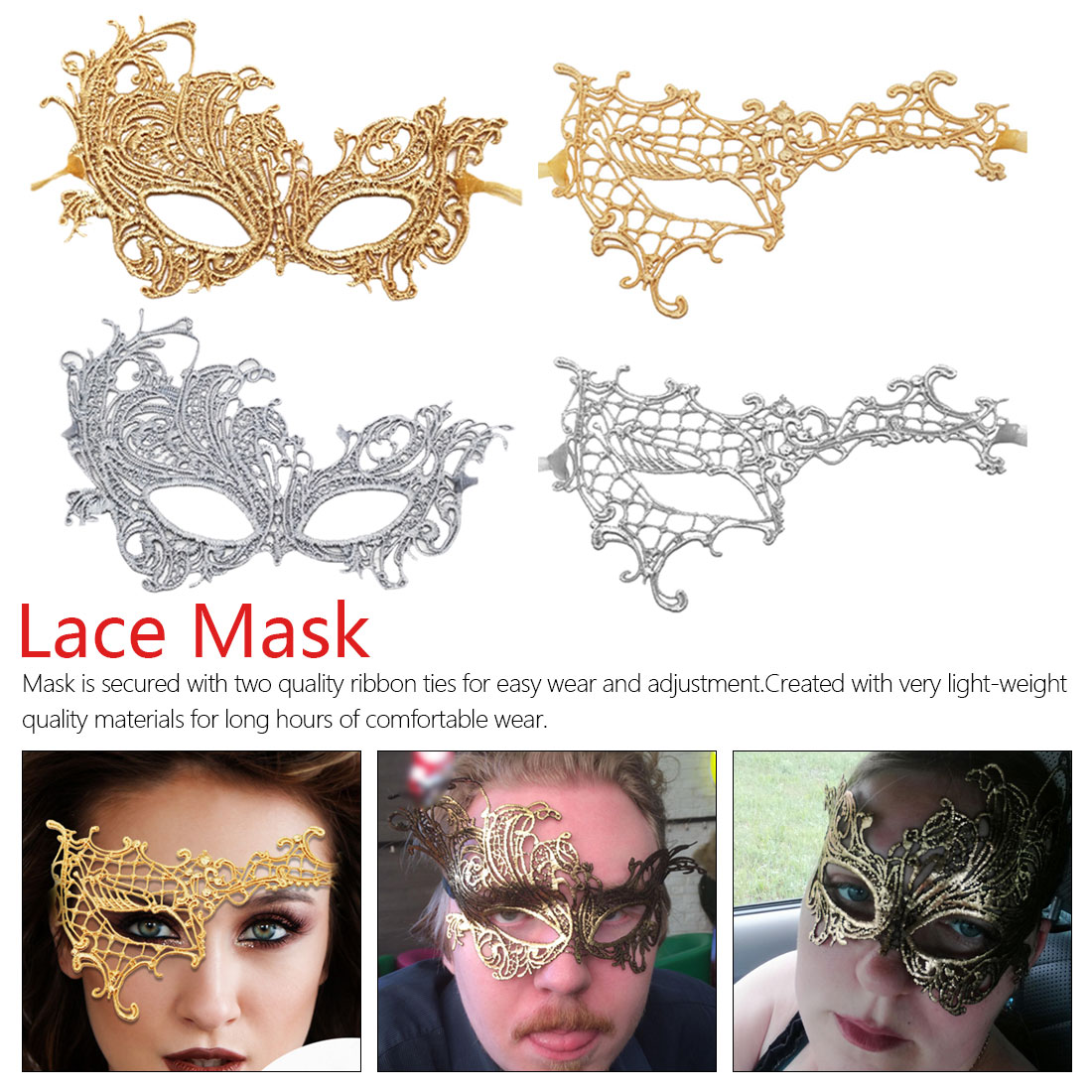 1pcs Women <font><b>Lace</b></font> Eye Bronzing Face <font><b>Mask</b></font> Masquerade Party Carnival Ball Prom <font><b>Halloween</b></font> Costume Decor <font><b>Sexy</b></font> Party <font><b>Masks</b></font> image