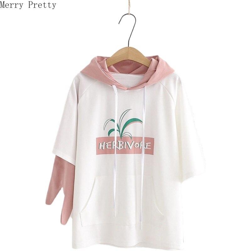 2020 Women Spring Hooded Sweatshirt Casual Cartoon Print Asymmetry Sleeve Hoodies New Arrival Female Pullovers With Pockets