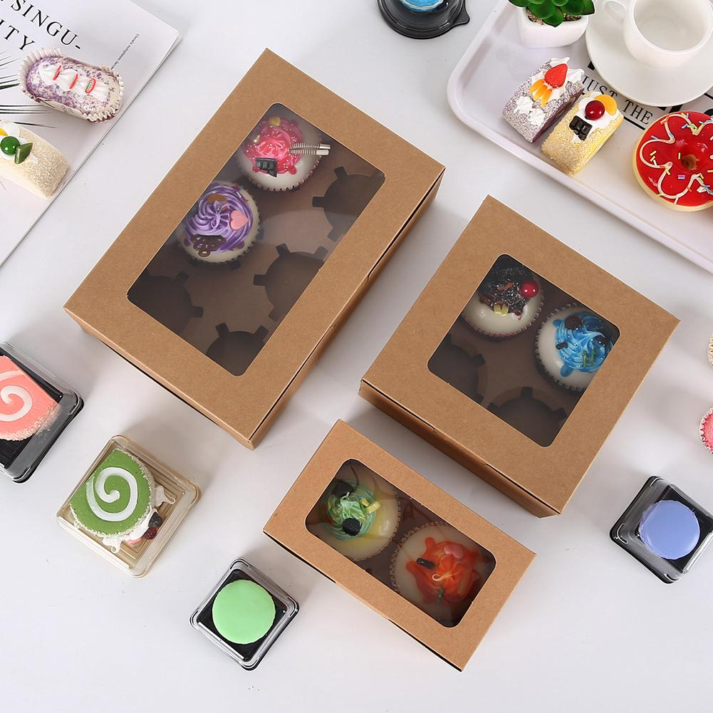 10 Pcs Practical Kraft Paper Cake Baking Box Cupcake Box Bakery Cake Container Biscuits Pastry Box With Insert Display Window