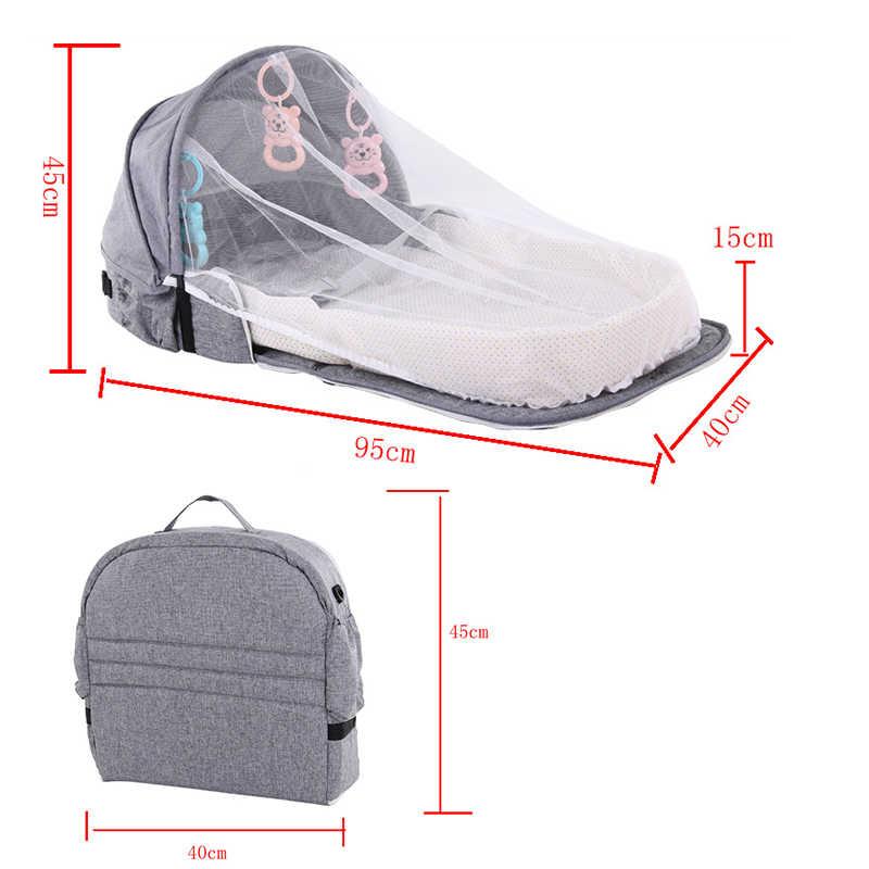 Portátil cama de bebê dobrável cama de bebê ninho berço para viagens dobrável saco de cama com mosquiteiro infantil cesta de dormir com brinquedos