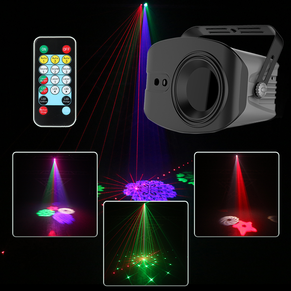 60+4 Patterns RG Laser Projector Light Disco DJ Lights RGB Party Lighting for Stage Decoration with Sound Activated Par Light