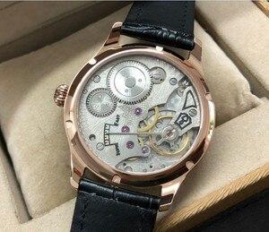 44 мм без логотипа, белый циферблат, 17 драгоценностей, ручная обмотка, азиатские 6498, мужские часы, покрытие, розовое золото, чехол, механические часы 3-4