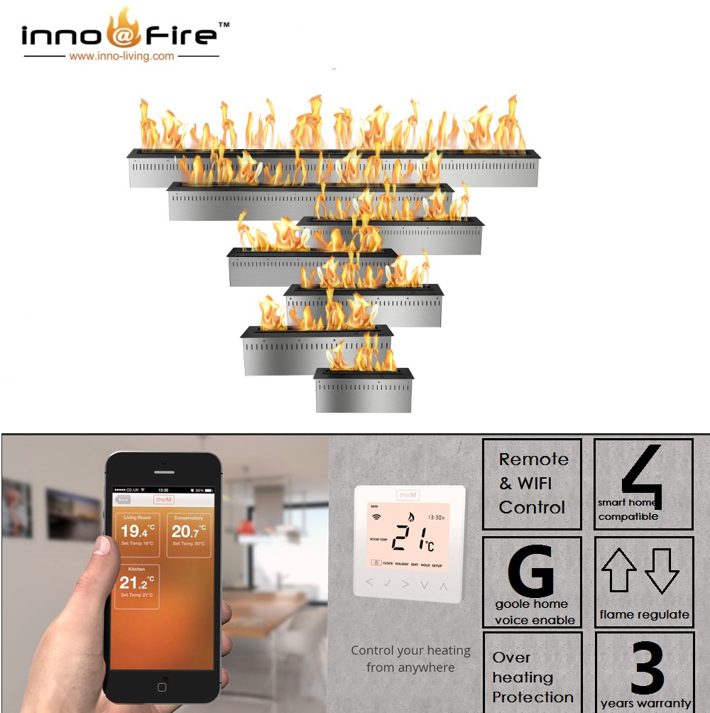 Inno Living 30 Inch Linear Electric Fireplace Bioethanol Wifi Control