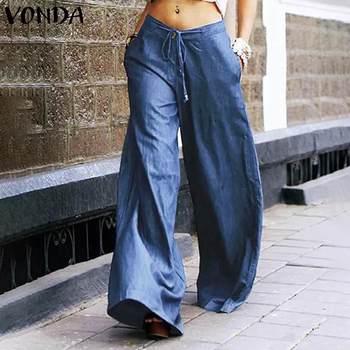 Loose High Waist Trousers VONDA Women 2021 Spring Solid Wide Leg Pants Casual Female Denim Pants Vintage Pockets Pantalon S-5XL 1