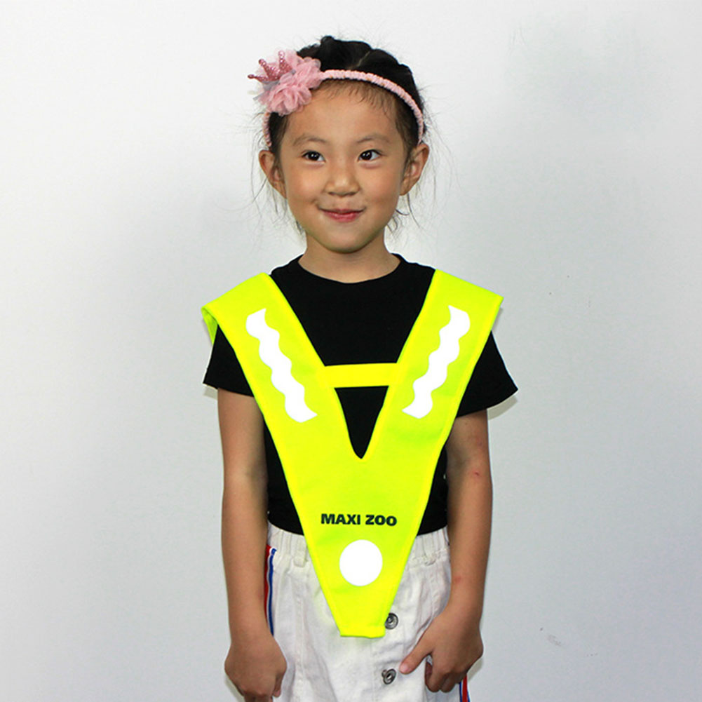 Children Reflective Vest Running Cycling Free Size V Shaped Night Security Traffic Safety Polyester Fluorescent Yellow Road