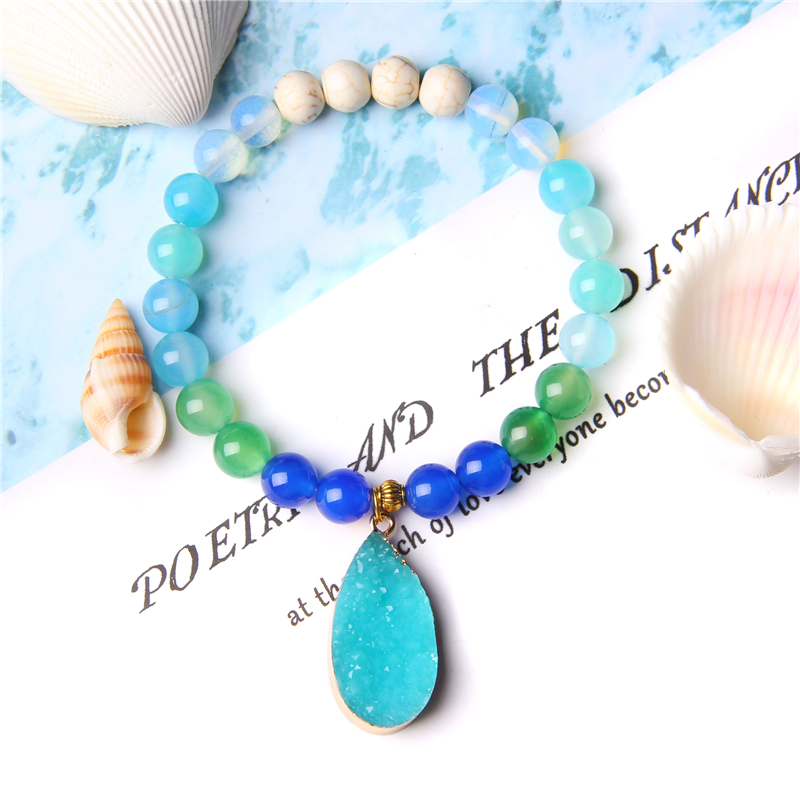 Women crystal quartz Resin charm pendant bracelet jewelry trendy blue bead beaded Elastic bracelet gifts for girl women lady her(China)