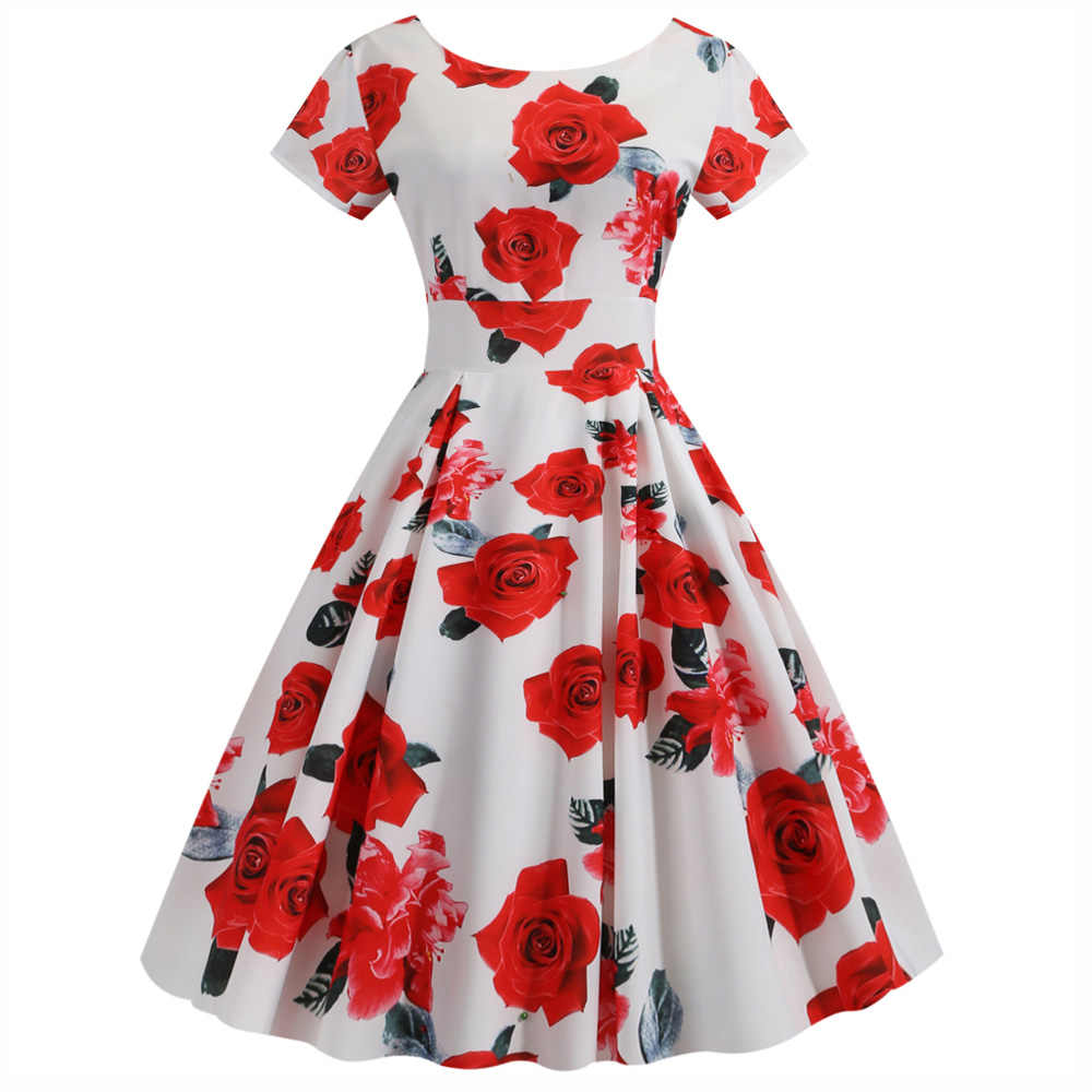 Joineles 10 Colors Floral Print Summer Women Dress Round Neck Short Sleeves 60s Vintage Dress Rockabilly Swing Hepburn Vestidos