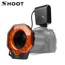 Ateş Led makro halka flaş ışığı Canon için 650D 6D 5D Nikon D3200 D3500 D5300 D7100 D7500 Olympus e420 Pentax k5 K50 DSLR kamera