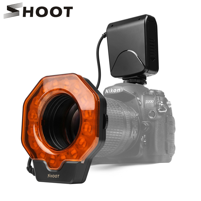 SCHIEßEN Led Macro Ring Flash Light für Canon 650D 6D 5D Nikon D3200 D3500 D5300 D7100 D7500 Olympus e420 Pentax k5 K50 DSLR Kamera