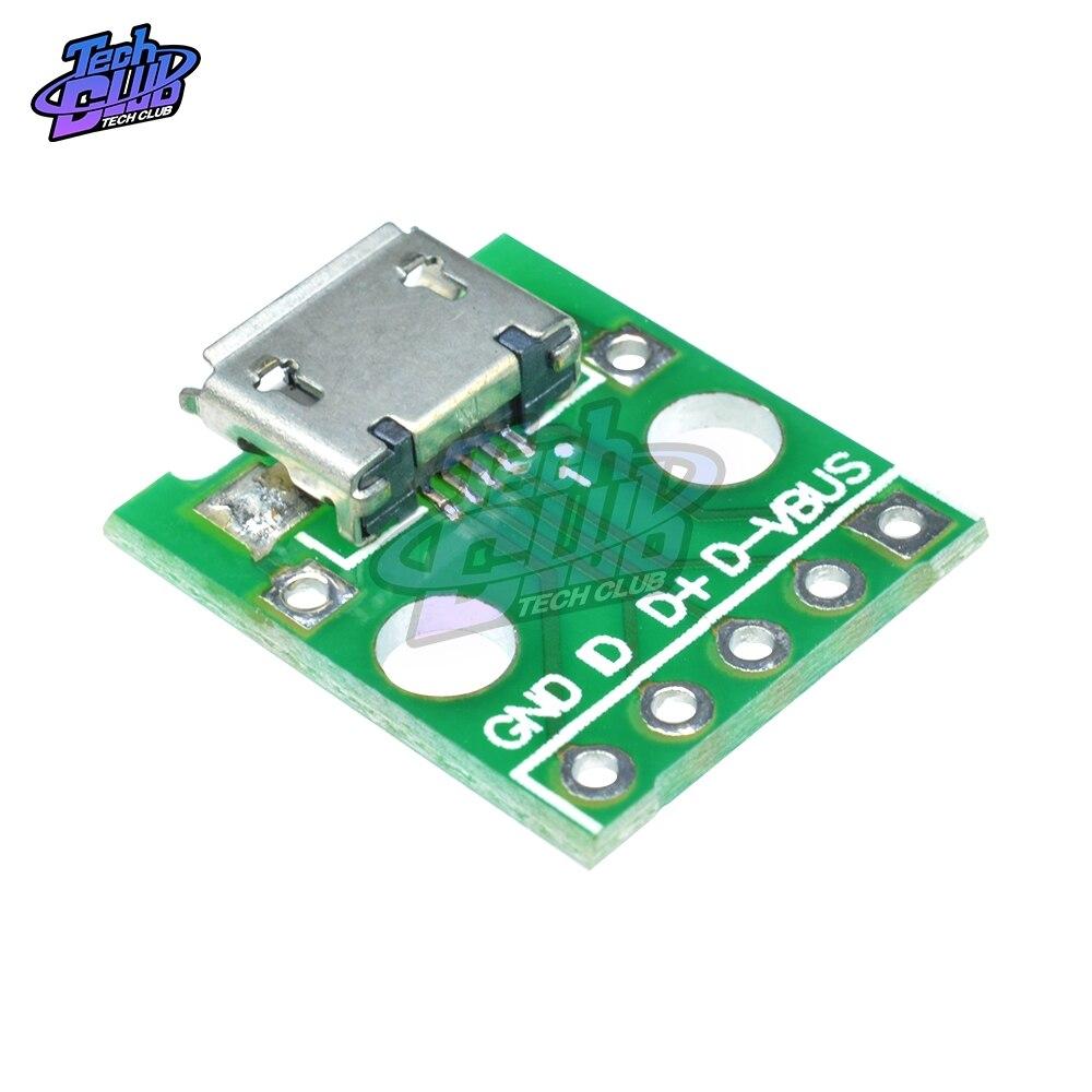1 5 USB Buchse Female zu 5PIN DIP Adapter 2,54mm Breadboard Modul für Arduino