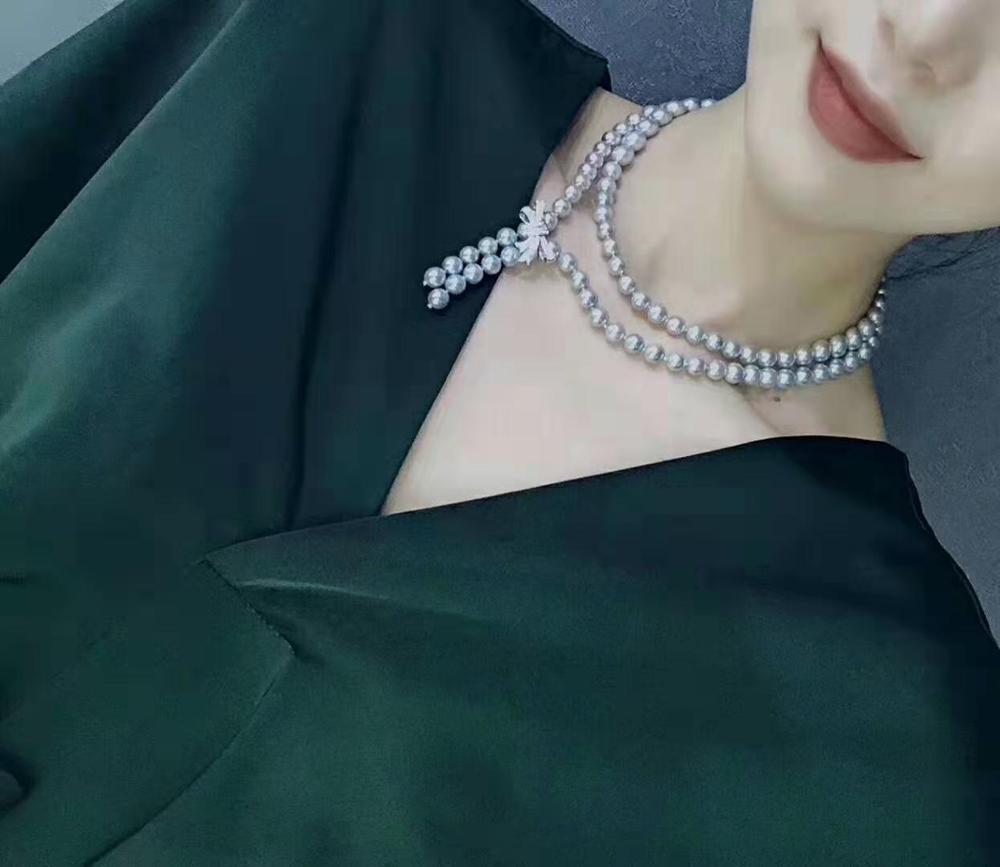 Ручной работы 10 мм Серый в виде ракушки жемчужное ожерелье микро инкрустированные Цирконом Кнопка свитер на длинной цепочке, 105-110 см, модное ювелирное изделие