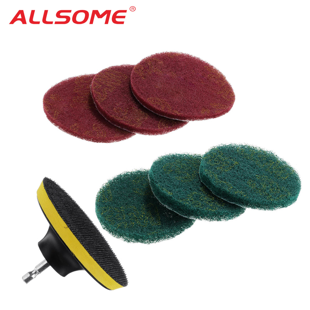 ALLSOME 7PCS Power Scrubber Brush Set For Bathroom Drill Scrubber Brush For Cleaning Cordless Drill Attachment Kit