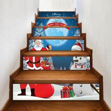 Snowman Santa Claus Stair Staircase Sticker Self-adhesive Decal Art Xmas Decor