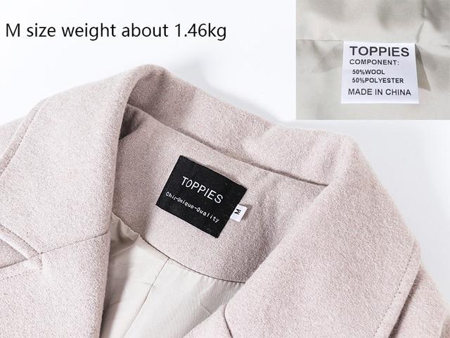 Toppies 2020 laine manteau femmes manteau long veste 50% laine coréenne dames outwear bouton couvert 3