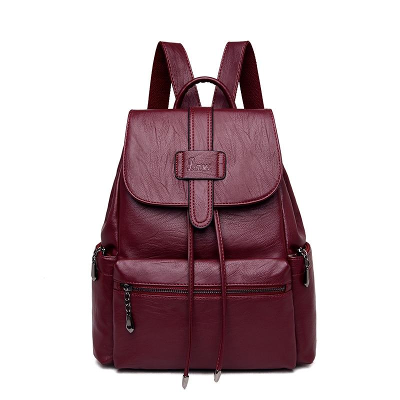2019 New String Women Backpack For School Bag Teenager High Quality Leather Rucksack Travel Shoulder Bag Mochila Feminina Sac