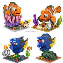hot LegoINGlys creators in search of Nemo Marlin fish Amphiprioninae Dory Regal Blue Tang micro diamond building block toys gift
