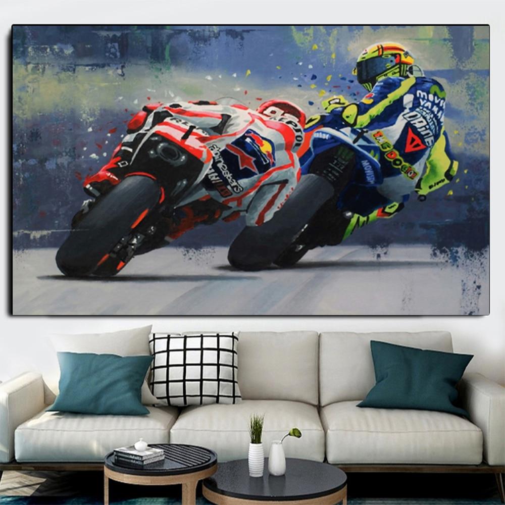 Abstrato motocicleta lona cartazes e impressão moderna arte da parede grand prix motocicleta corrida fotos para sala de estar decoração casa