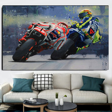 Abstract Motorcycle Canvas Posters and Print Modern Wall Art Grand Prix Motorcycle Racing Pictures for Living Room Home Decor