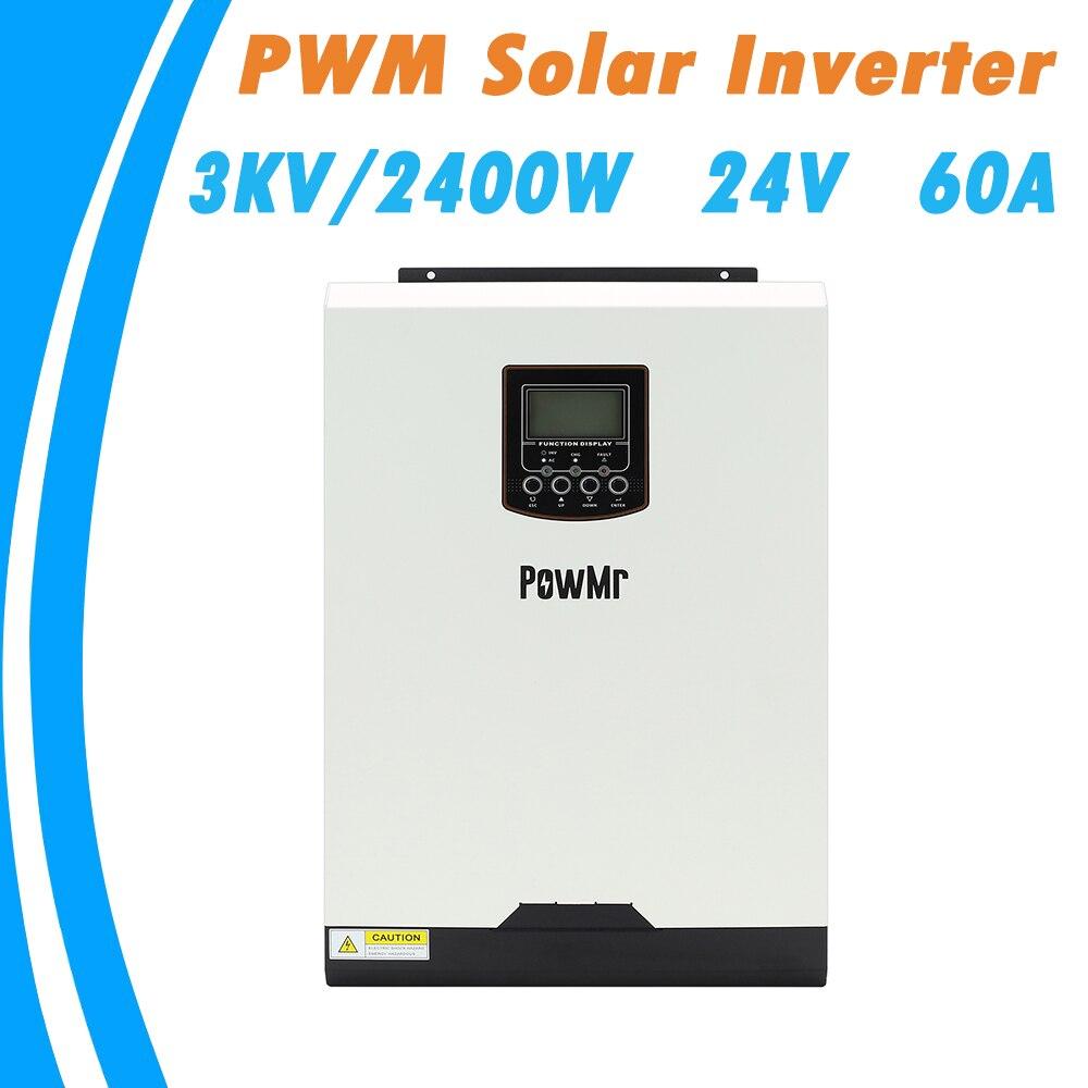 powmr 3kva inversor solar hibrido 2400w 110v 24vdc onda senoidal pura inversor solar construir em pwm