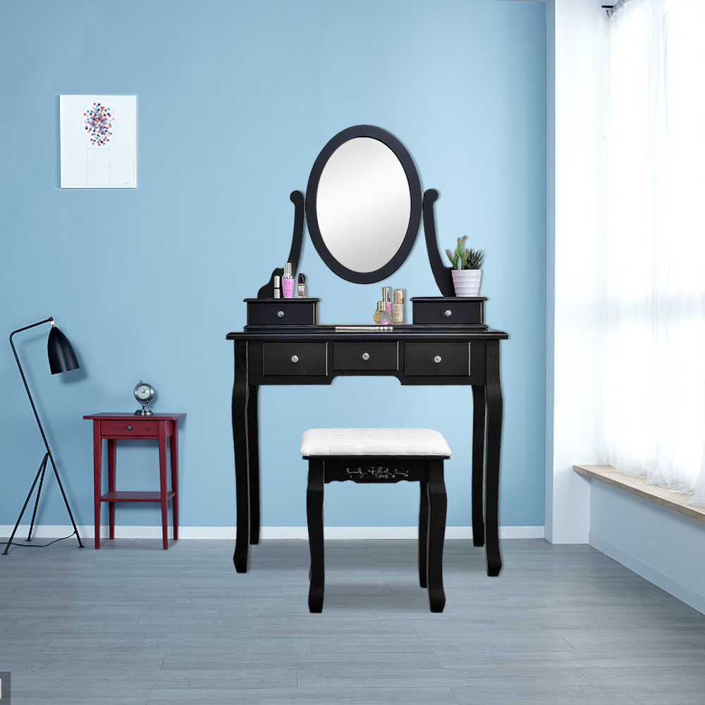 vanity desk White Vanity table Makeup Dressing Table Set with Stool Mirror  Jewelry bedroom furniture set US Shipping