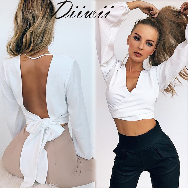Diiwii Summer Sexy Blouse Women Backless Bow Dot Loose Tops Ladies Long Sleeve Deep V-Neck Shirt Casual Clothes