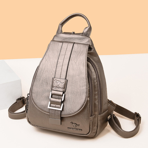 Image 2 - New Women Belt Casual Backpack Soft Genuine Leather Backpack Fashion Kangaroo print School Bags For Teenage Girls Mochila Sac
