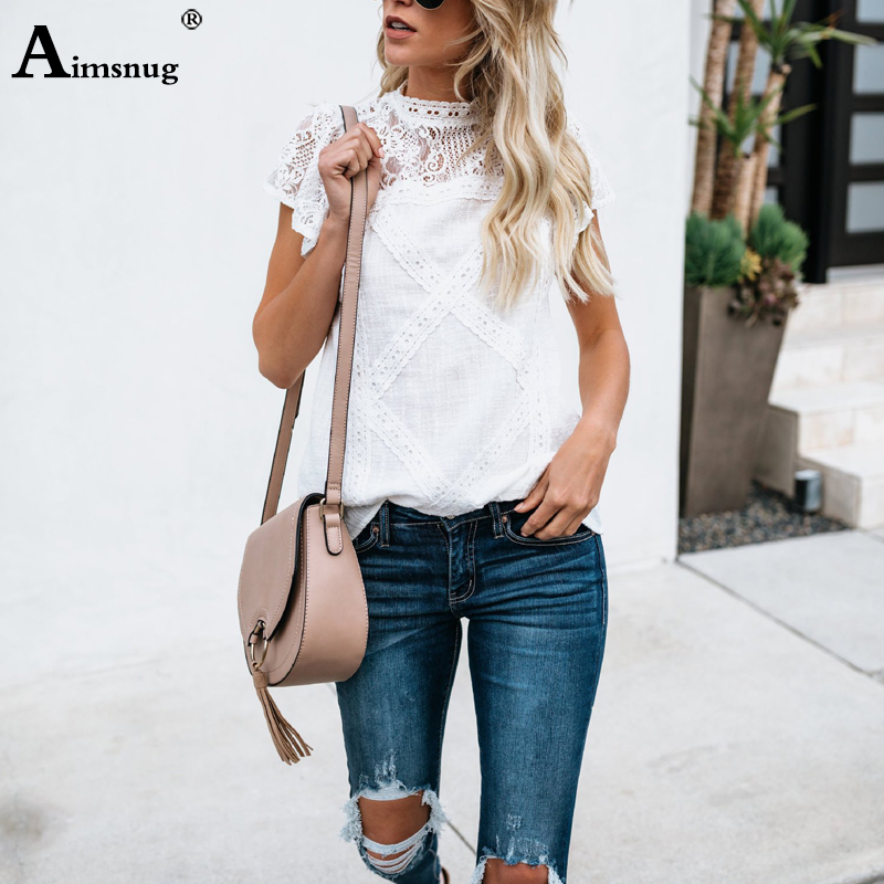 H5025173bfe124ae1b3ab086908e25dd5f - Aimsnug Women White Elegant T-shirt Lace Patchwork Female O-neck Hollow Out Shirt Summer New Solid Casual Women's Tops